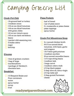 Our easy, no-fuss, weekend camping menu! Free camping grocery list ...