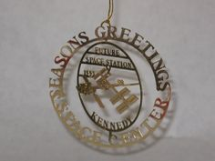 Nation's Treasures Christmas  tree ornament Kennedy space station brass 24k gold finish