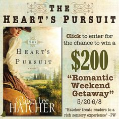 "Robin Lee Hatcher is celebrating the release of her new novel, ""The Heart's Pursuit,"" by giving away a $200 Visa card during her ""Romantic Weekend Getaway"" giveaway. Click for details!"