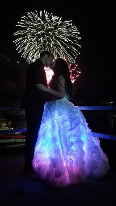After surviving this girl chose to sparkle and shine and light up the world in a dress filled with lights for her of July Wedding! - Rainbow Light Bride Custom Wedding Dresses by Evey Light Up Dresses, Light Dress, Pretty Dresses, Beautiful Dresses, Crazy Dresses, Custom Wedding Dress, Wedding Dress Styles, Smart Party Dresses, Dress Party
