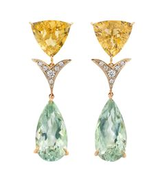Faraone Mennella - Beryl with diamonds and amethyst pear drop earrings set in 18Kt gold