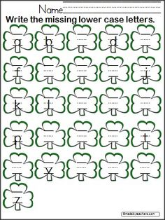 Students write the missing lower case letters on this FREE clover worksheet.  Great for March and St. Patrick's Day.