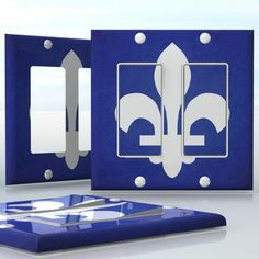 DIY Do It Yourself Home Decor - Easy to apply wall plate wraps | Quebec Flag Fleur-de-Lis  Canadian Province Flag  wallplate skin sticker for 2 Gang Decora LightSwitch | On SALE now only $4.95