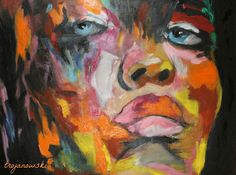 A woman's face on oil