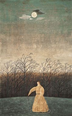 """thewoodbetween: """"""""Alone in the Night"""" by Toshio Arimoto """" Japanese Drawings, Japanese Artists, Web Gallery, Japanese Modern, Japan Art, Art And Illustration, Painting Inspiration, Unique Art, Images"""