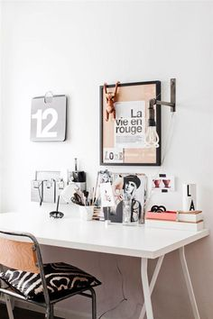 Minimalistic home office with great decorations. Dream Home Office Decor: wall decoration ideas. Home Office Lighting, Home Office Space, Office Workspace, Home Office Design, Home Office Decor, House Design, Office Ideas, Office Furniture, Office Spaces