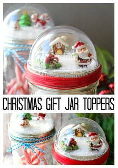 Make these mason jar Christmas gifts for those you love! Cute snow globe toppers… Make these mason jar Christmas gifts for those you love! Cute snow globe toppers for mason jars then add in hot chocolate or any other gift idea! Mason Jar Christmas Crafts, Mason Jar Crafts, Bottle Crafts, Christmas Diy, Christmas Stuff, Christmas Decorations, Holiday Crafts, Country Christmas, Homemade Christmas