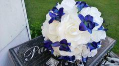 Blue Orchid White Rose Wedding Bouquet