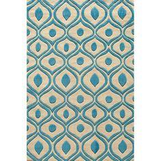Blue Rug - Overstock.com Hand Tufted Modern Waves Teal Polyester Rug (8' x 10')