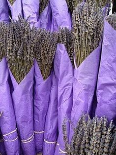 wrapped bundles of fresh lavender. Looks and smells FAB!  Place beside your bed, evening chair, and sleep like a baby.  Lavendar's very relaxing~  sallyeidson.willowhouse.com