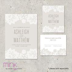 "wedding invitation - ""Love & Lace"". $96,00, via Etsy."