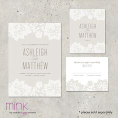 wedding+invitation+lace+romantic+modern++Love+&+Lace+by+minkcards,+$96.00
