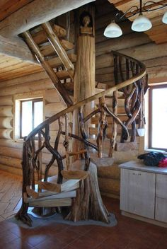 Sharing my obsessive love of rustic cabin life through photos and art I have collected. Rustic Staircase, Spiral Staircase, Staircase Design, Staircases, Timber Stair, Stair Railing, Banisters, Railings, Escalier Art