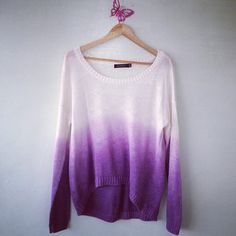 purple ombre sweater only worn once, lightweight perfect for fall ( American eagle was used as a tag it was from a boutique ) American Eagle Outfitters Tops Tees - Long Sleeve Looks Street Style, Looks Style, Style Me, Ombre Sweater, Purple Sweater, Ombre Shirt, Dye Shirt, Look Chic, Swagg