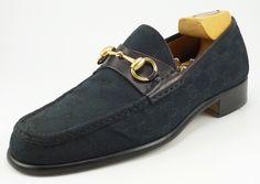 Gucci sz 7.5 GG Canvas Bit Loafers 015942 Mens Black fits US 7.5 #distinctivedeals #mensfashion