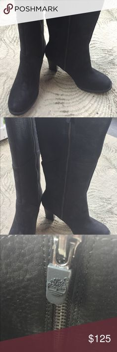 "NWT Timberland Straham Height Tall Black Boots Brand New/Timberland Straham Height Mid-Calf Black Waterproof Leather Suede/Women 8.5/3"" Suspension Heel for ultimate shock absorption and comfort/Never Worn/Pet-Free Home Timberland Shoes Heeled Boots"