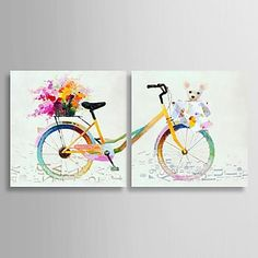 Hand Painted Oil Painting Still Life Colorful Bike with Stretched Frame Set of 2 - USD $ 124.99