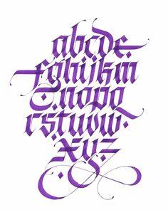 Calligraphy by - Purple alphabets ✒ Graffiti Lettering Alphabet, Tattoo Fonts Alphabet, Gothic Lettering, Chicano Lettering, Script Lettering, Typography Letters, Lettering Design, Graffiti Alphabet Styles, Caligraphy Alphabet