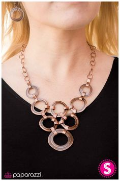 Fiercely Fastened - Copper: Waved copper circles are outlined in texture and linked together for a gorgeous statement piece along a copper chain. Features an adjustable clasp closure. Buy now at www.paparazziaccessories.com/25604 for only $5!