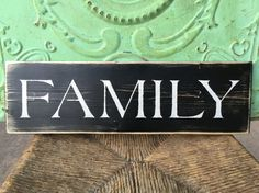 Wooden Black and Ivory Family Sign Home Decor by ShopFannieJanes
