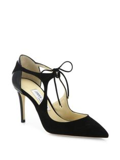 Jimmy Choo - Vanessa Cutout Suede & Leather Front-Tie Pumps