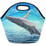 Whale Jumping Out Of Water Insulated Lunch Tote Bag Reusable Neoprene Cooler Portable Lunchbox Handbag For Men Women Adult Kids Boys Girls Insulated Lunch Tote, Lunch Tote Bag, Handbags For Men, Kids Boys, Whale, Boy Or Girl, Lunch Box, Girls, Women