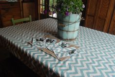 Custom listing for Rachel. chevron tablecloth by Thefrontporch1950, $34.95