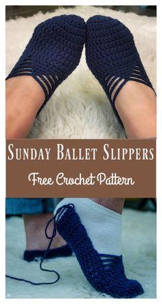 Sunday Ballet Slippers Free Crochet Pattern and Video Tutorial #slippers #crochet #freepattern
