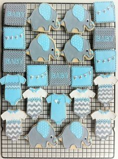 Decorated Elephant Themed Baby Shower Cookies by peapodscookies by Caitlynlolfunny