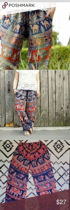 *WEEKEND SALE* Darn Good Yarn Boho Elephant Pants One size fits most (up to 42 inch waist) with an elastic waistband and POCKETS!!!!  100% Cotton, Bohemian handmade in India/Nepal.  Beautiful Print with Elephants, Camels and peacocks! The colors are most accurate in the 1st two photos.  39 inches long, relaxed fit. Darn Good Yarn Pants