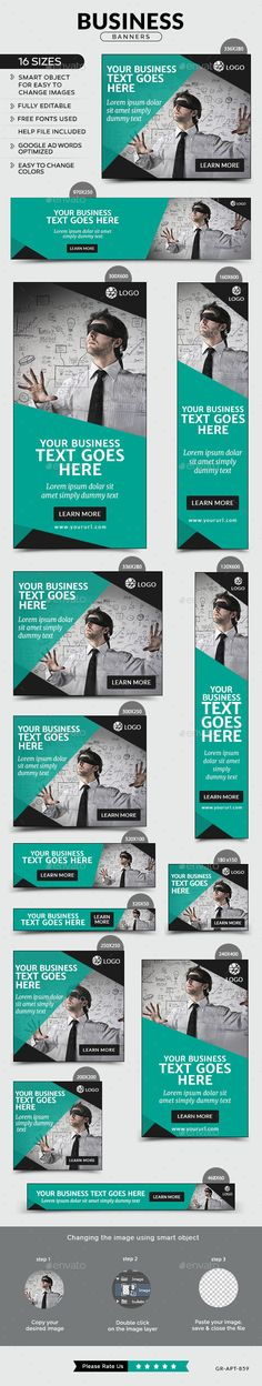 Buy Business Banners by Hyov on GraphicRiver. Promote your Products and services related to any niche with this great looking Banner Set. Banner Design Inspiration, Web Banner Design, Web Design Inspiration, Display Banners, Display Ads, Web Banners, Design Retro, Ad Design, Page Layout Design