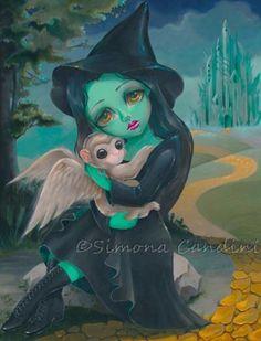 Elphaba SIGNED Print Simona Candini Fairytale Wicked Wizard Of Oz Big Eyes Art