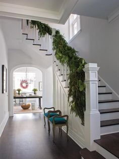 Dark expresso stairs & hardwood floors with white!!!! Love!!!