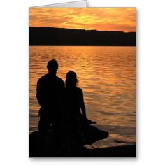 Lovers at Sunset Lake Valentine Cards