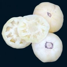 White Tomesol tomato - 80 days. An amazing heirloom that is bursting with fragrance and natural goodness. The cream colored fruits are beautiful, smooth, and weigh about 8 ounces each. The vines set heavy yields of this rare treasure.  Baker Creek Heirloom Seeds $ 2.50 for 20.