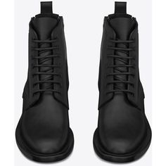 Saint Laurent Signature Rangers Lace-Up Boot With Side Zips (143900 RSD) ❤ liked on Polyvore featuring shoes, boots, ankle booties, army boots, lace up ankle booties, military lace up boots, slip on boots and leather sole boots