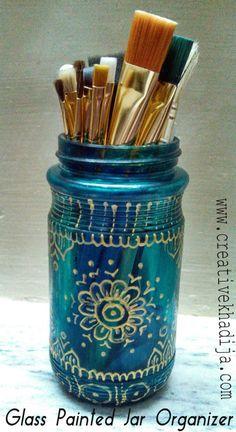 glass painted jar organizer tutorial http://creativekhadija.com/2014/07/glasspaint-jar-organizer-tutorial/