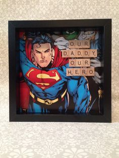 PK 2 SUPERMAN DAD EMBELLISHMENT TOPPERS FOR CARDS OR CRAFTS