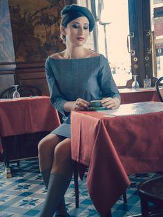 kostenloses Schnittmuster zum Download: Blaues Kleid