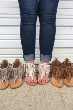Caught Up Wedge Fringe Sandals