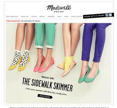 "Madewell ""Sidewalk Skimmers"" animated email."