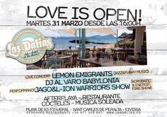 ¿Vamos a la playa? ¡Opening del Chiringuito de Las Dalias! El próximo martes 31 de marzo a partir de las 12hs. abrimos la cocina para comenzar a disfrutar de la nueva carta que hemos preparado para la temporada 2015... Y a partir de las 16hs. empieza la fiesta con música en vivo, Dj´s, espectáculo de fuego y mucho más... Nos vamos a divertir! #LasDaliasdeIbiza #feelLasDalias2015 #Ibiza2015