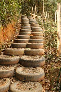 reutilização de pneus velhos