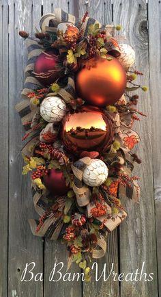 Fall Wreath Fall Swag Autumn Swag Autumn Wreath by BaBamWreaths Diy Fall Wreath, Autumn Wreaths, Holiday Wreaths, Thanksgiving Wreaths, Thanksgiving Decorations, Fall Decorations, Mesh Ribbon Wreaths, Fall Deco Mesh, Fall Swags