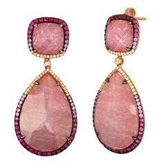 Triplet Pink Sapphire Mother of Pearl Crystal Diamond Gold Drop Earrings | From a unique collection of vintage drop earrings at https://www.1stdibs.com/jewelry/earrings/drop-earrings/