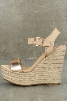 Your favorite sundress is begging for a heel like the Rena Rose Gold Espadrille Wedges! Soft vegan leather starts at a wide toe strap and carries into a blush, adjustable quarter strap, with antiqued gold buckle. Rose Gold Wedge Sandals, Rose Gold Wedges, Rose Gold Shoes, Strap Sandals, Wedge Shoes, Shoes Sandals, Wedges Online, Wedges