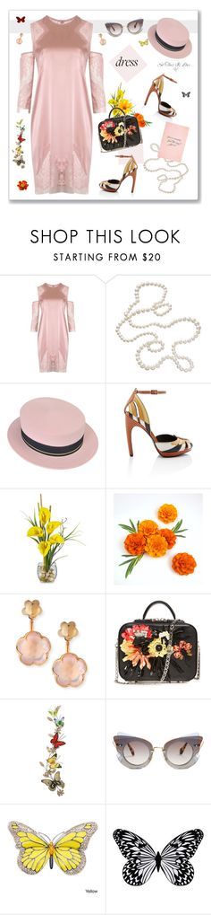 """""""Dress"""" by nantucketteabook ❤ liked on Polyvore featuring Mason's, Maison Michel, WALL, Pasquale Bruni, Home Decorators Collection, Miu Miu, Visionnaire, Summer, Spring and Pink"""