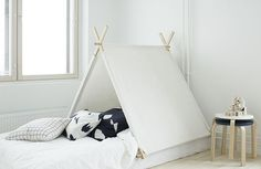 Finnish interior designer Susanna Vento created a monochrome bed complete with a=tented canopy, as seen in ELLE Decoration Sweden. Tent Camping Beds, Bed Tent, Outdoor Camping, Scandinavian Interior Design, Scandinavian Style, Cool Apartments, Elle Decor, Kind Mode, Luxury Bedding