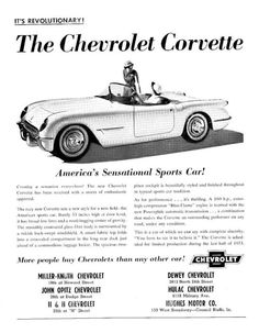 2X Car silhouette stickers for Chevrolet Corvette C1 1958 classic Convertible