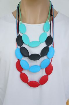 Teething Beads Adjustable Necklace for Mommy -  Flat, Oval, Chewable, BPA-free, food-grade silicone beads, on matching Satin Cord
